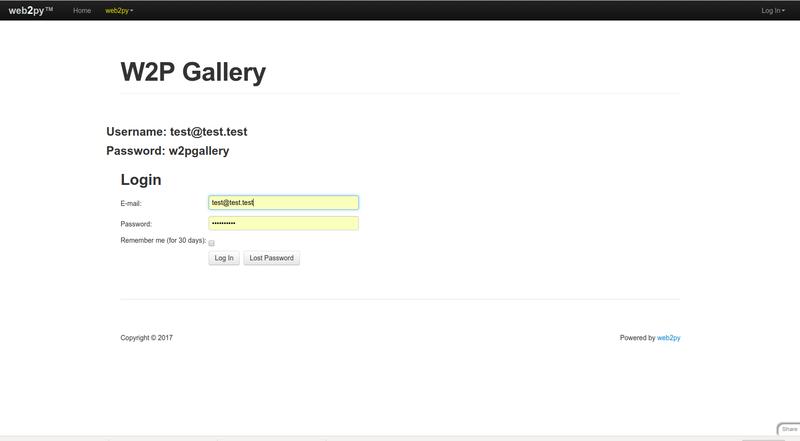 w2p Gallery login and start page